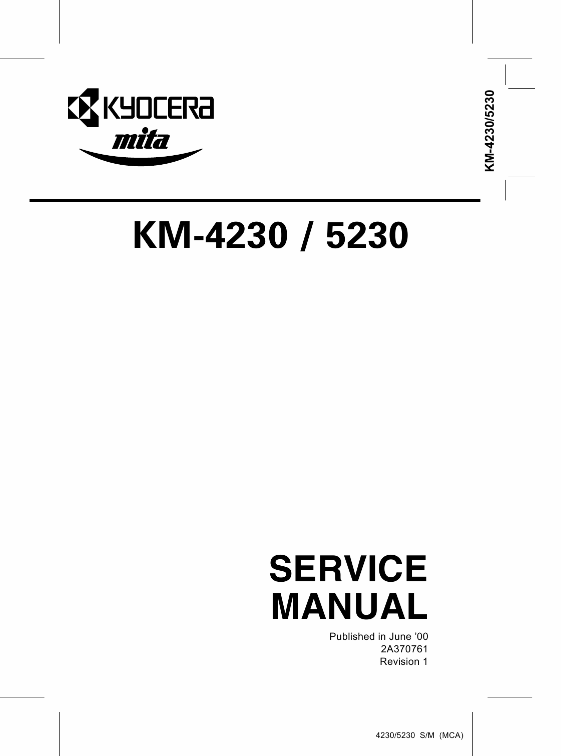 KYOCERA Copier KM-4230 5230 Parts and Service Manual-1